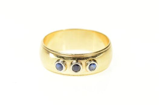14K 0.18 Ctw Natural Sapphire Men's Wedding Yellow Gold Ring, Size 10.75