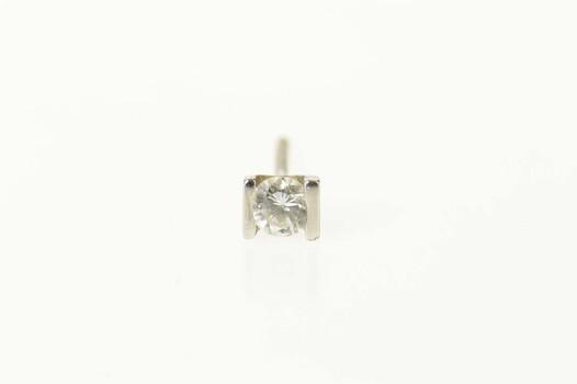 14K 0.20 Ct Diamond Solitaire Single Stud White Gold Earring