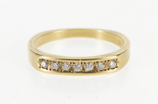 14K 0.21 Ctw Squared Design Diamond Men's Band Yellow Gold Ring, Size 10