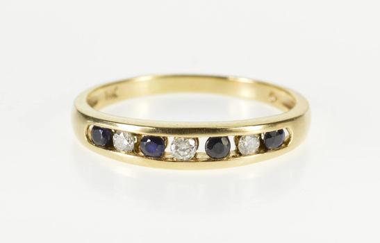 14K 0.21Ctw Channel Sapphire Diamond Wedding Band Yellow Gold Ring, Size 7.25