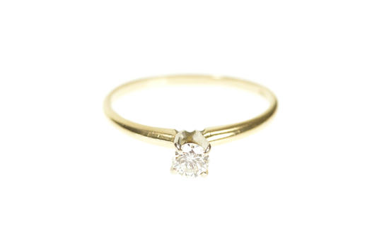 14K 0.25 Ct Diamond Classic Solitaire Engagement Yellow Gold Ring, Size 6.75