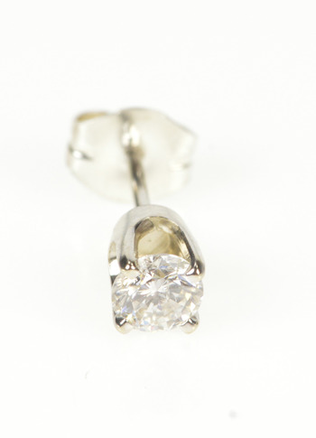 14K 0.25 Ct Diamond Solitaire Classic Single Stud White Gold Earring