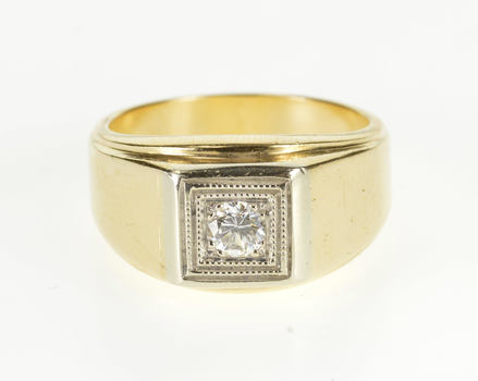 14K 0.25 Ct Diamond Square Inset Solitaire Yellow Gold Ring, Size 9.25