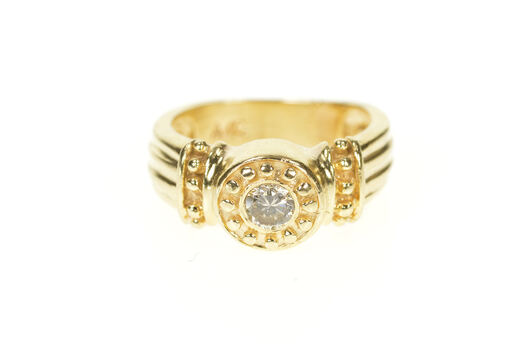 14K 0.25 Ct Etruscan Revival Diamond Engagement Yellow Gold Ring, Size 5.75
