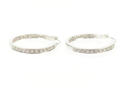14K 0.26 Ctw Diamond Inside Outside Classic Hoop White Gold Earrings