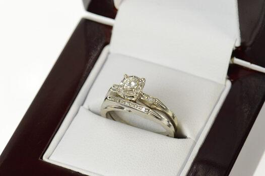 14K 0.28 Ctw Diamond Engagement Bridal Set White Gold Ring, Size 4.75