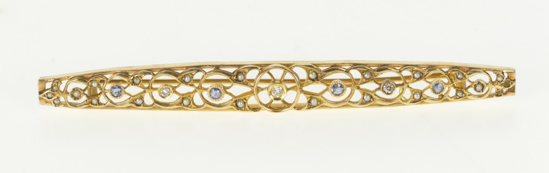 14K 0.30 Ctw Diamond Sapphire Victorian Bar Yellow Gold Pin/Brooch