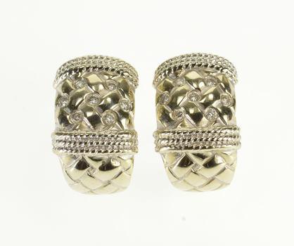14K 0.30 Ctw Diamond Weave Rope Design French Back White Gold EarRings