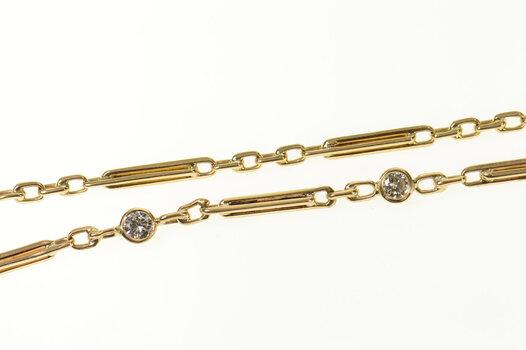 "14K 0.32 Ctw Diamond Figaro Pocket Watch Chain Yellow Gold Necklace 15.25"""