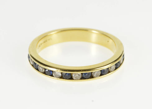 14K 0.35 Ctw Channel Diamond Sapphire Wedding Band Yellow Gold Ring, Size 6