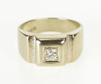 14K 0.36 Ct Men's Diamond Retro Solitaire Wedding Yellow Gold Ring, Size 9.75