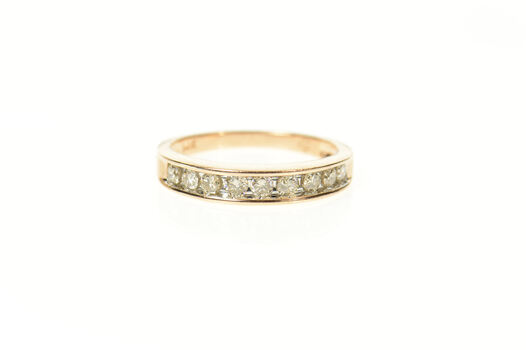 14K 0.36 Ctw Diamond Classic Wedding Band Yellow Gold Ring, Size 7
