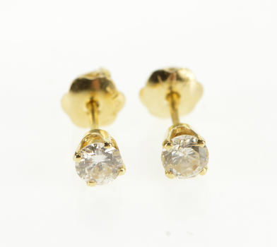 14K 0.36 Ctw Round Diamond Solitaire Screw Back Stud Yellow Gold EarRings