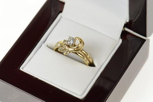 14K 0.38 Ctw Diamond Floral Engagement Bridal Set Yellow Gold Ring, Size 7