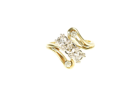 14K 0.40 Ctw 1940's Diamond Bypass Engagement Yellow Gold Ring, Size 5.5