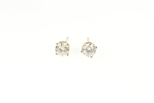 14K 0.40 Ctw Diamond Solitaire Classic Stud Yellow Gold Earrings