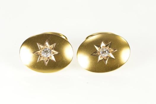 14K 0.40 Ctw Retro Diamond Ornate Men's Yellow Gold Cuff Links