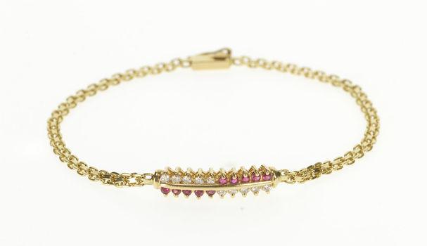 "14K 0.40 Ctw Ruby Diamond Bar Square Chain Yellow Gold Bracelet 7.25"""