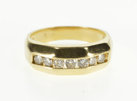 14K 0.42 Ctw Diamond Channel Inset Wedding Band Yellow Gold Ring, Size 7.5