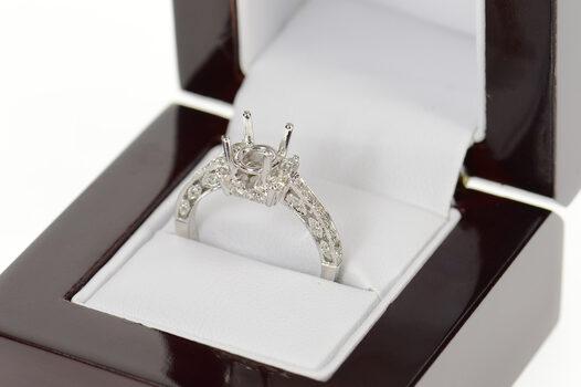 14K 0.43 Ctw Diamond Engagement Semi Mount Setting White Gold Ring, Size 7