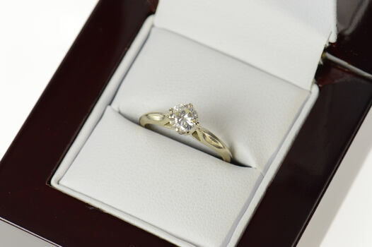 14K 0.46 Ct Diamond Classic Solitaire Engagement White Gold Ring, Size 4