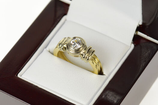 14K 0.47 Ct Round Diamond Grooved Engagement Yellow Gold Ring, Size 6.25