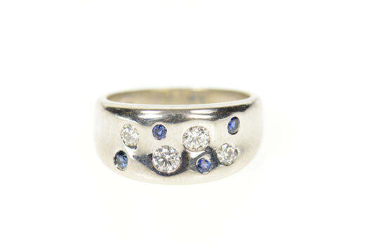 14K 0.48 Ctw Diamond Sapphire Flush Curved Band White Gold Ring, Size 6.75