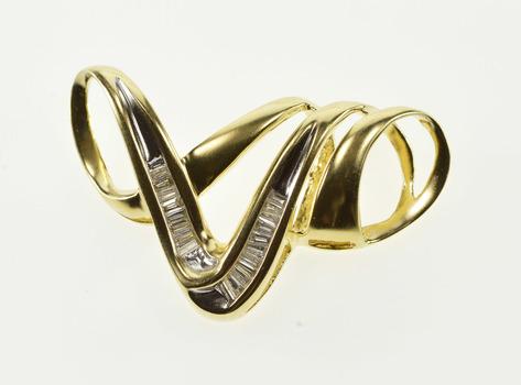 14K 0.50 Ctw Baguette Diamond Wavy Curvy Loop Yellow Gold Pendant