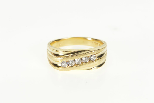 14K 0.50 Ctw Channel Inset Men's Wedding Band Yellow Gold Ring, Size 12