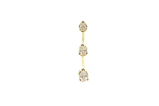 14K 0.50 Ctw Pear Tiered Diamond Journey Bar Yellow Gold Pendant