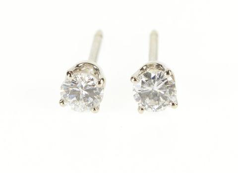 14K 0.50Ctw Round Brilliant Cut Diamond Solitaire Stud White Gold Earrings