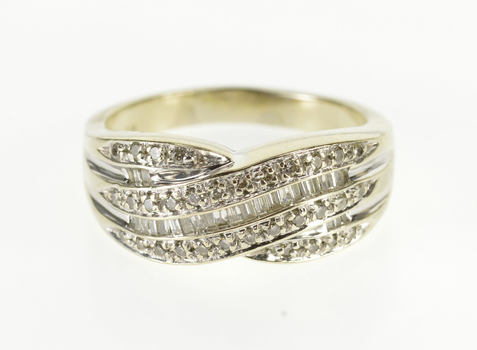 14K 0.54 Ctw Diamond Encrusted Criss Cross Band White Gold Ring, Size 9.25