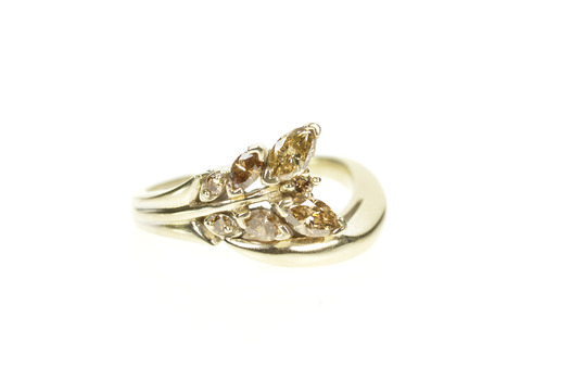 14K 0.54 Ctw Fancy Brown Diamond Vine Bypass Yellow Gold Ring, Size 6.75