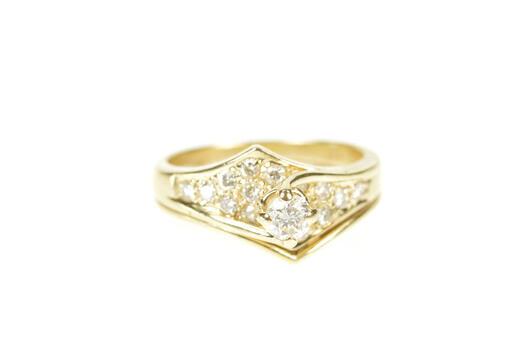 14K 0.55 Ctw Diamond Unique Engagement Bridal Set Yellow Gold Ring, Size 4.5