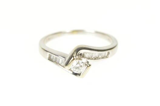 14K 0.58 Ctw Diamond Baguette Bypass Engagement White Gold Ring, Size 8.25