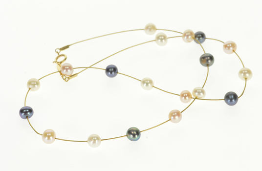 """14K 0.5mm Wire Link Chain Pearl Beaded Yellow Gold Necklace 17"""""""