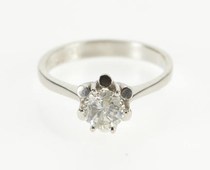14K 0.60 Ct Diamond Solitaire Ornate Engagement White Gold Ring, Size 6.5
