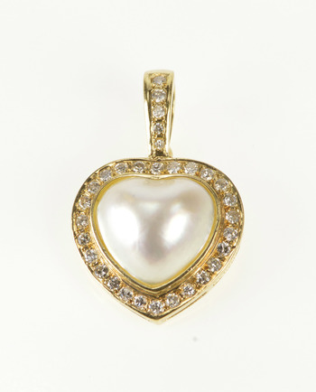 14K 0.60 Ctw Diamond Halo Mabe Pearl Heart Love Yellow Gold Pendant