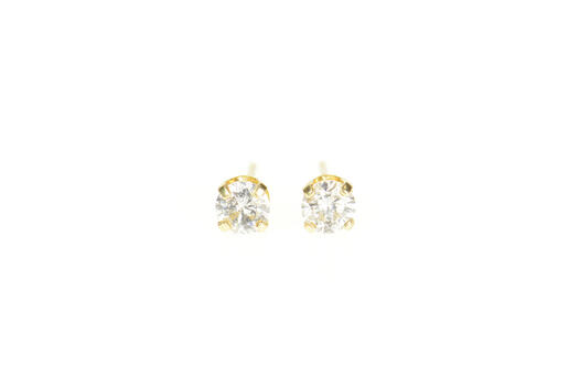 14K 0.62 Ctw Diamond Solitaire Classic Stud Yellow Gold Earrings