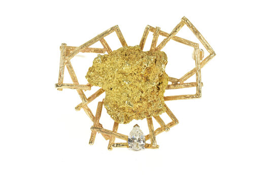 14K 0.63 Ct Pear Diamond Raw Nugget Geometric Yellow Gold Pin/Brooch