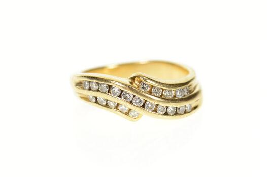 14K 0.63 Ctw Wavy Diamond Channel Men's Band Yellow Gold Ring, Size 11