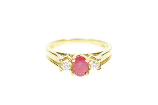 14K 0.64 Ctw Natural Ruby Diamond Engagement Yellow Gold Ring, Size 6.75