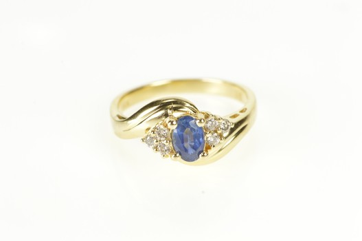 14K 0.68 Ctw Oval Sapphire Diamond Engagement Yellow Gold Ring, Size 6.5