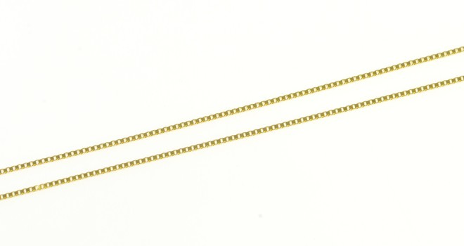 """14K 0.6mm Classic Box Chain Square Link Yellow Gold Necklace 18"""""""
