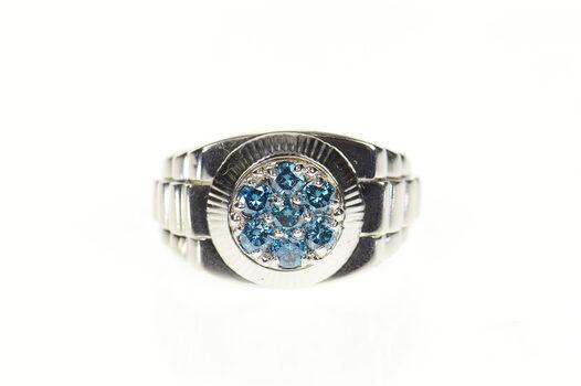 14K 0.70 Ctw Men's Blue Diamond Watch Band White Gold Ring, Size 11.5