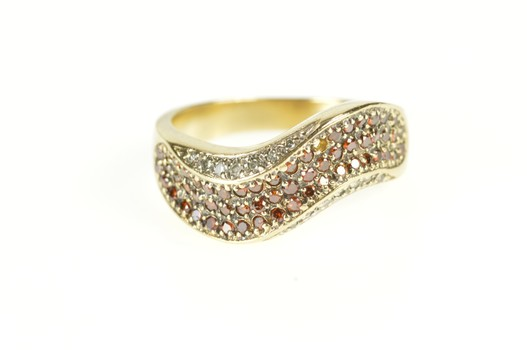 14K 0.71 Ctw Pave Red Diamond Wave Statement Yellow Gold Ring, Size 8.75