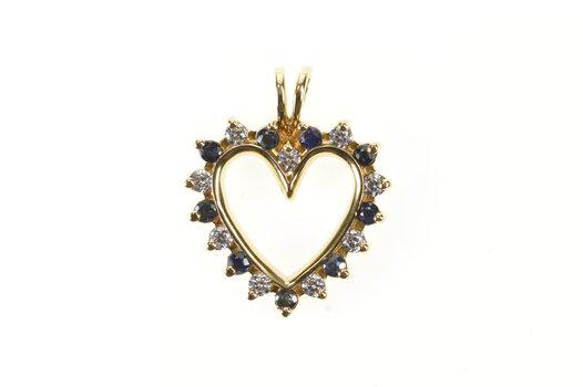 14K 0.72 Ctw Diamond Sapphire Classic Heart Yellow Gold Pendant
