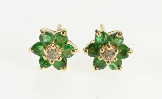 14K 0.72 Ctw Emerald Flower Diamond Accent Stud Yellow Gold EarRings