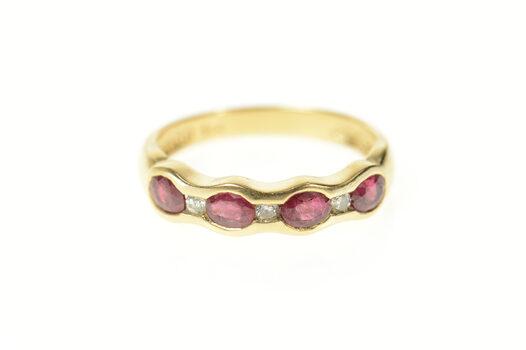 14K 0.73 Ctw Natural Ruby Diamond Wedding Band Yellow Gold Ring, Size 6.25