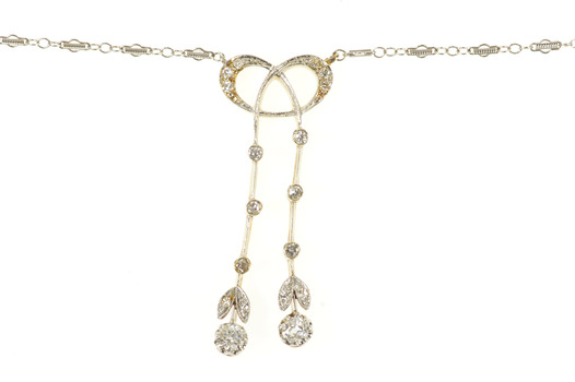 "14K 0.74 Ctw Edwardian Diamond Bow Drop Chain Yellow Gold Necklace 15"""